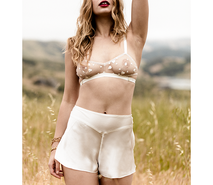 Vintage inspired silk and lace lingerie set with silk tap pants and sheer lace bralette