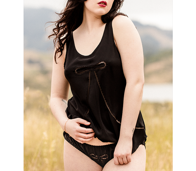 Luxury black silk and lace camisole top with matching silk knicker