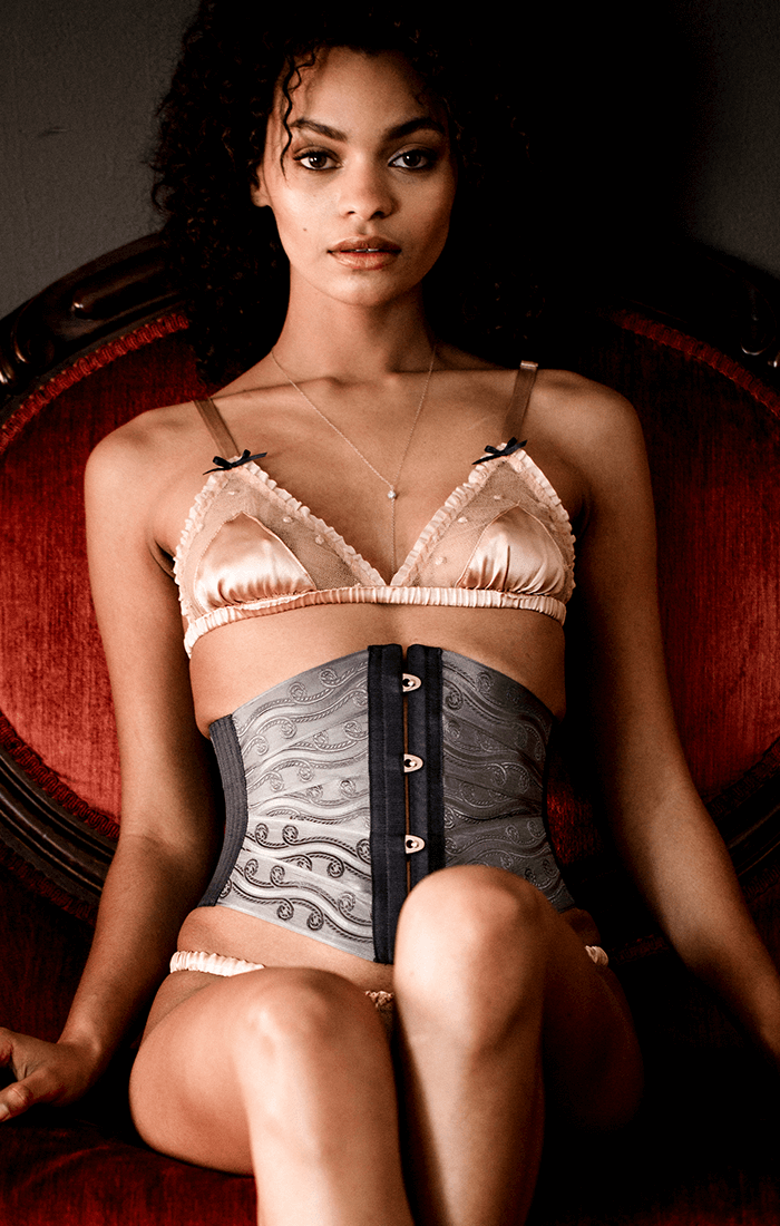 Ribbon corset waist cincher in gray brocade ribbon, worn with vintage inspired silk lingerie set in blush pink