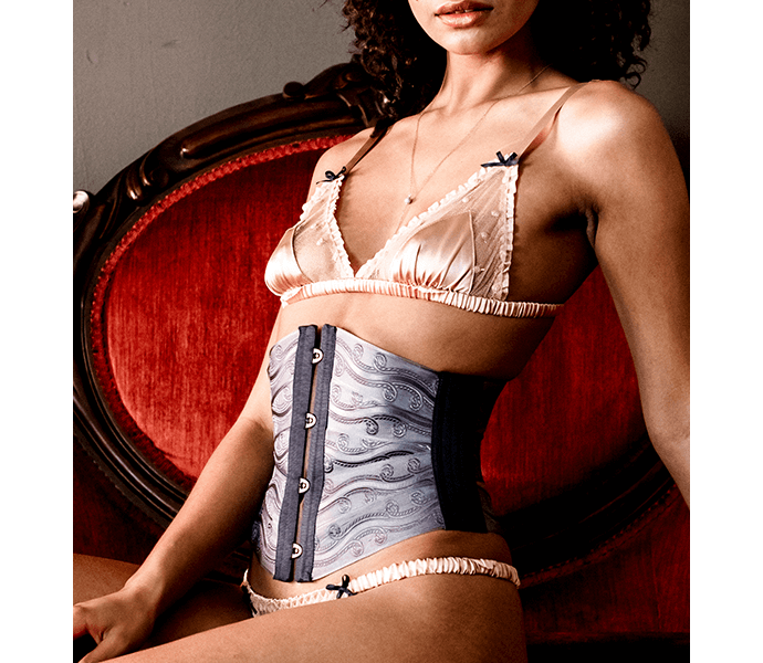 Luxury ribbon corset in gray brocade ribbon with vintage inspired silk and lace lingerie set