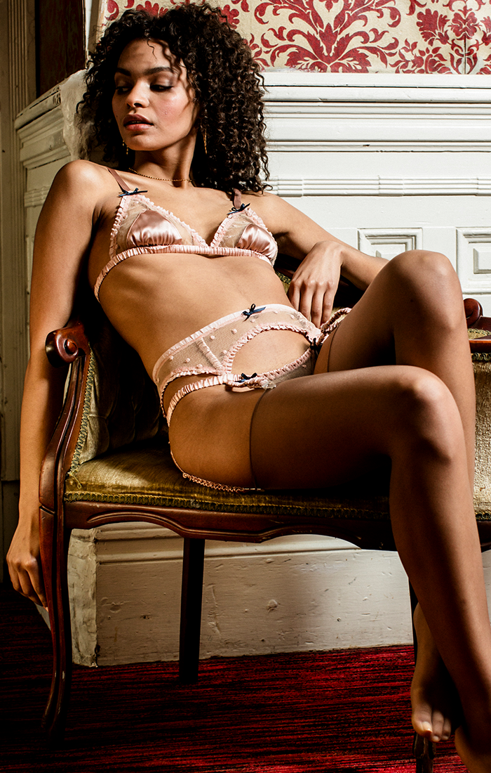 Garter belt lingerie set in blush pink silk and lace with vintage inspired silk bralette