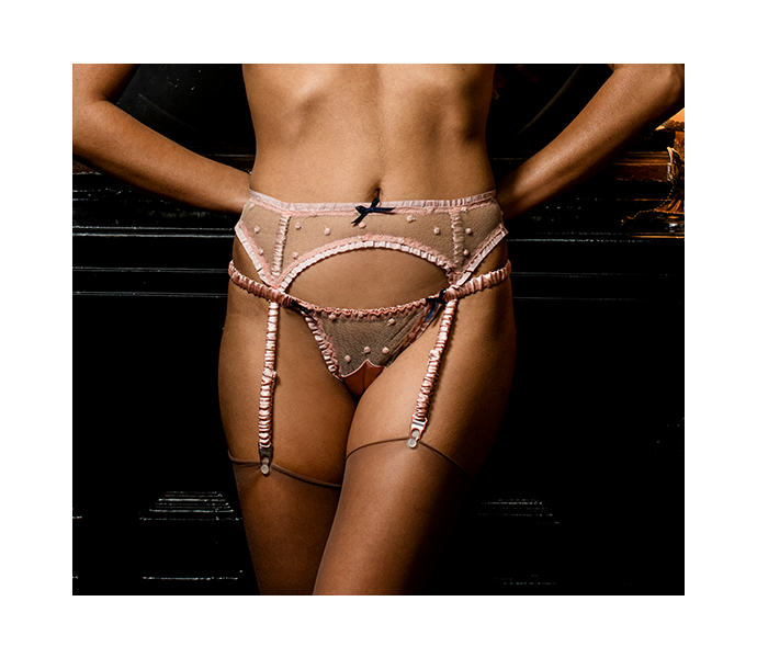 Garter belt lingerie set in pink silk and lace with silk covered straps and sheer polka dot lace