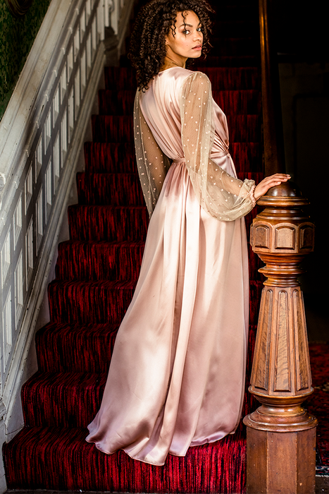Vintage floor length robe in pink silk with sheer polka dot lace long sleeves