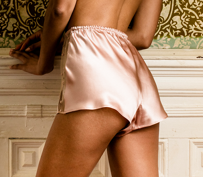Silk tap pants in luxury pink silk with sheer lace front