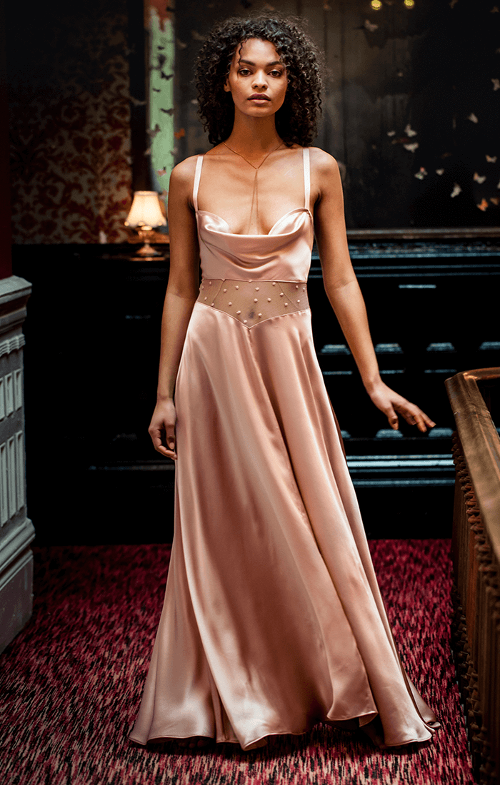 Long silk slip dress in pure bias cut silk with cowl neck and fine French lace panel