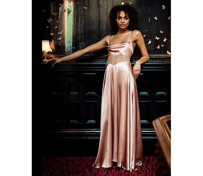 Silk slip dress in pure silk with lace panel, in vintage inspired pink colour and extra long length