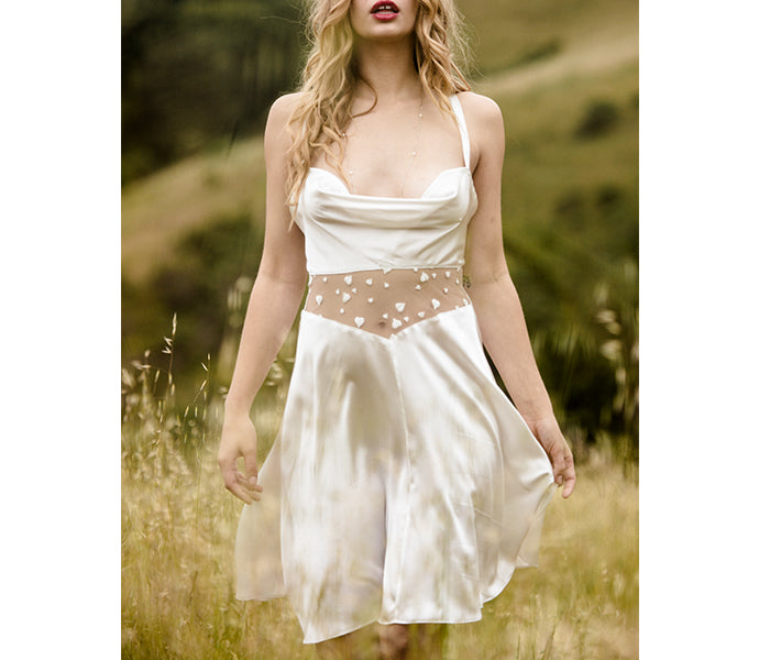 Silk slip dress in ivory silk with fine lace detail, perfect as luxury bridal lingerie