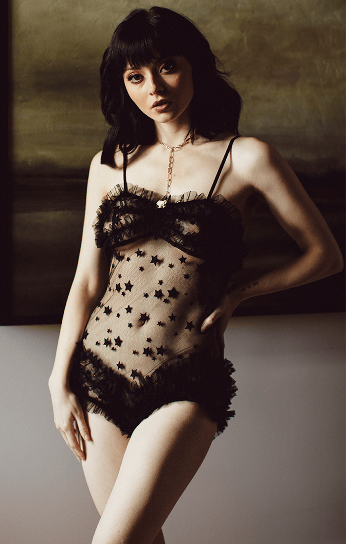 Vintage inspired black lace teddy in luxury star embroidered lace and ruffles