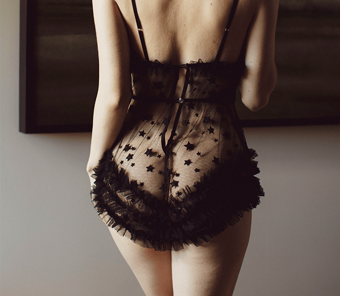 Sheer black lace teddy with star embroidery and retro style ruffles