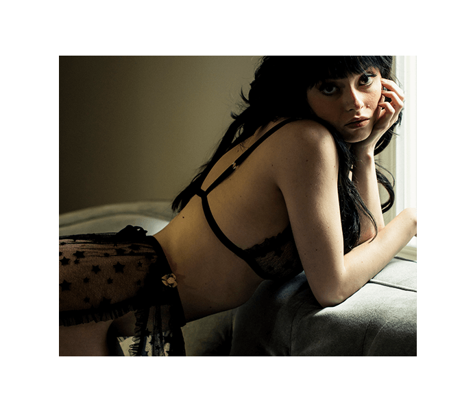 Vintage inspired lingerie set in sheer black lace with retro style slip and lace bralette