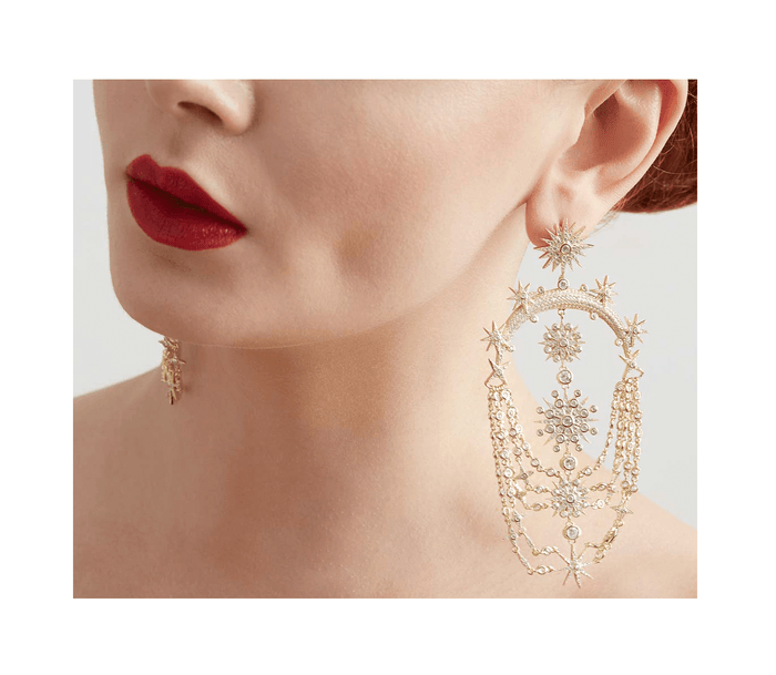 Gold star chandelier earrings for beautiful vintage style