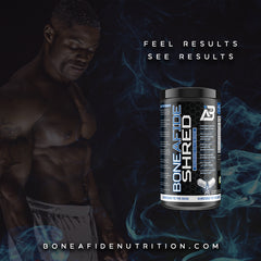product image of SHRED, a fat-burning supplement in a black cannister.