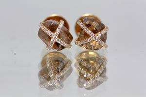 18k Gold Over 8.50 Carat Rough Diamonds Studs