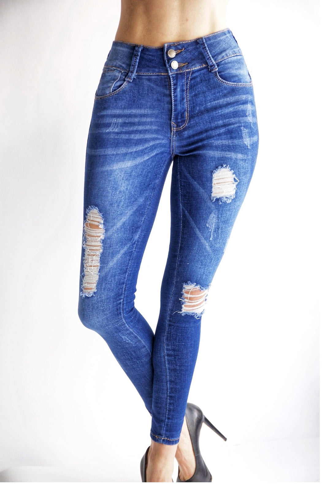 Tiffany New! Super High Rise Distressed Cloud Ocean Blue Tushy Jeans