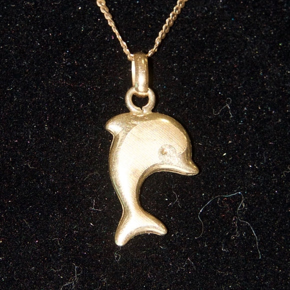 14kt Italy Gold Dolphins Necklace