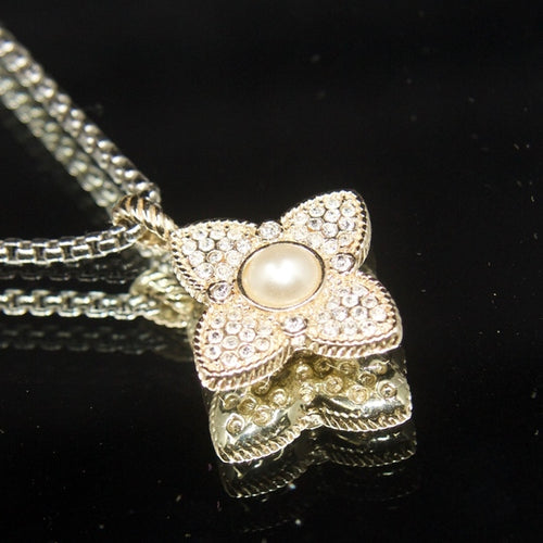 Gorgeous 14kt gold dipped Pave pearl necklace