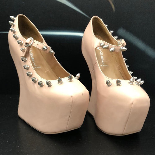 Sexy Jeffrey Campbell pink spiked platform shoes