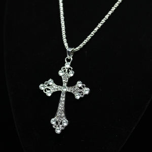 18kt Gold Dipped White Topaz Cross Necklace