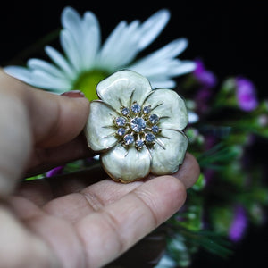 My Flower Adjustable Ring With Center White Topaz