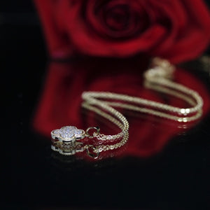 18KT Gold Dipped CZ Pave Flower Dainty Necklace