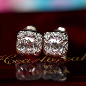 Rare 925S Tacori Cushion Cut Halo Earrings Studs