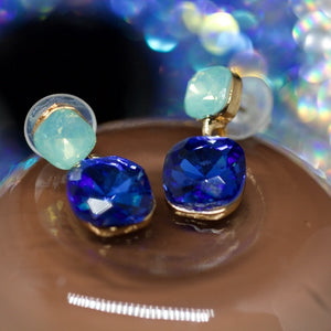 14kt Gold Dipped Blue and Green Topaz Earrings