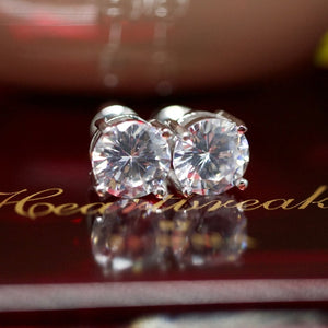 925 14kt Gold Dipped White Topaz Tiffany Studs
