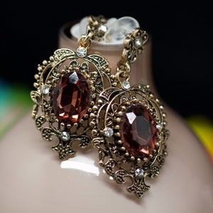 14kt Gold Dipped Dark Red Topaz Antique Earrings