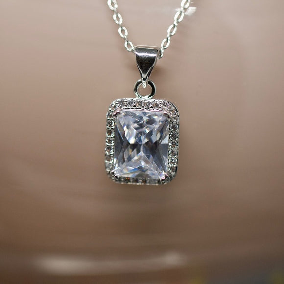 14kt Gold Dipped White Topaz Halo Radiant Necklace
