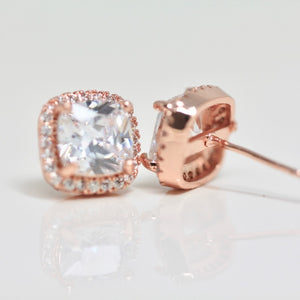 18k Rose Gold Dipped Cushion Topaz earrings Studs