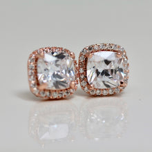 Load image into Gallery viewer, 18k Rose Gold Dipped Cushion Topaz earrings Studs
