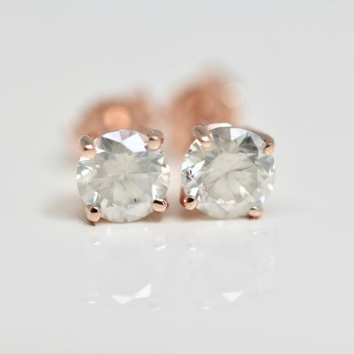 Rose Gold Tiffany Style Diamond Studs