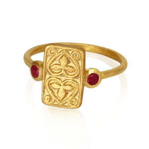 Temple of the Sun Ruby seal ring gold