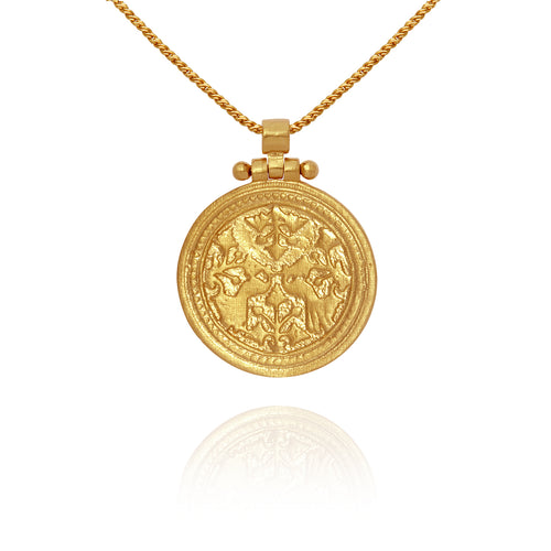 Temple of the Sun Peacock necklace gold