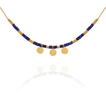 Temple of the Sun Lapis disc necklace gold