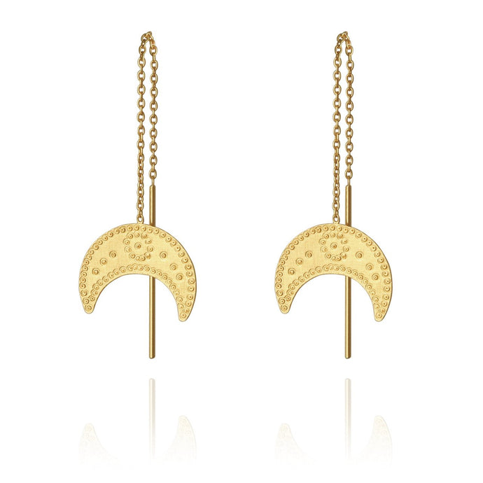 Temple of the Sun Hanging Moon Earring Gold