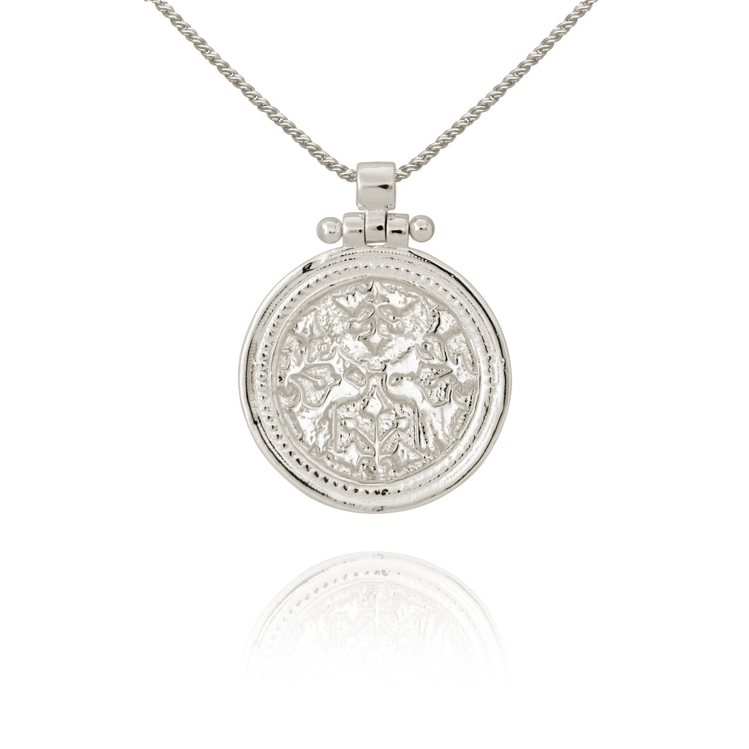 Temple of the Sun Peacock Necklace Silver