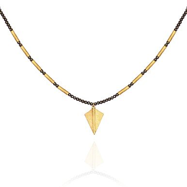 Temple of the Sun Capella Pyrite Necklace with Gold arrowhead