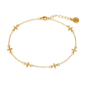 Temple of the Sun Cross Anklet Gold