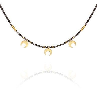 TOTS Capella Pyrite Necklace with Gold Moons
