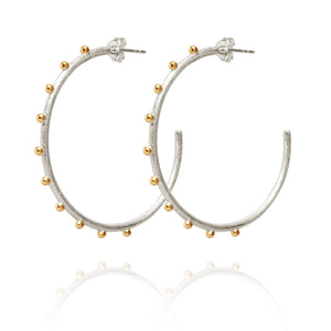 Temple of the Sun EOS Earring Silver w/ Gold Dot Detail
