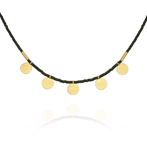 Temple of the Sun Seed Bead Necklace Gold Disc Matt Black
