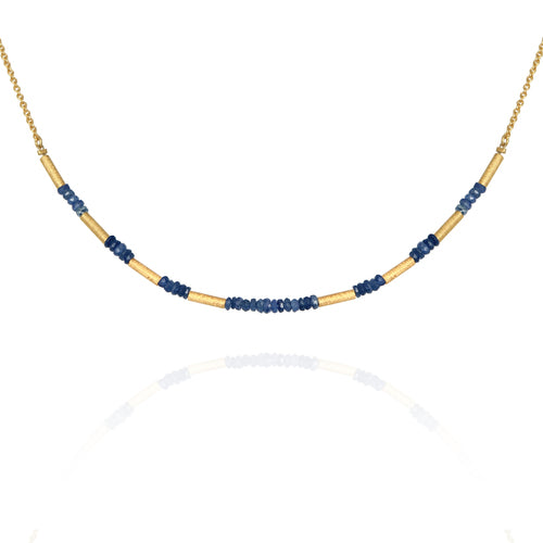 Temple of the Sun Saphire Bead Necklace Gold