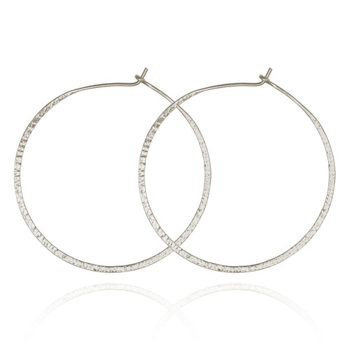 Temple of the Sun Simple Hoop Silver Earrings Silver