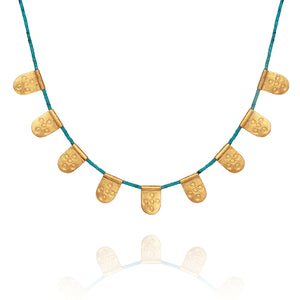 Temple of the SunAnatolia Necklace w/Turquoise GOLD