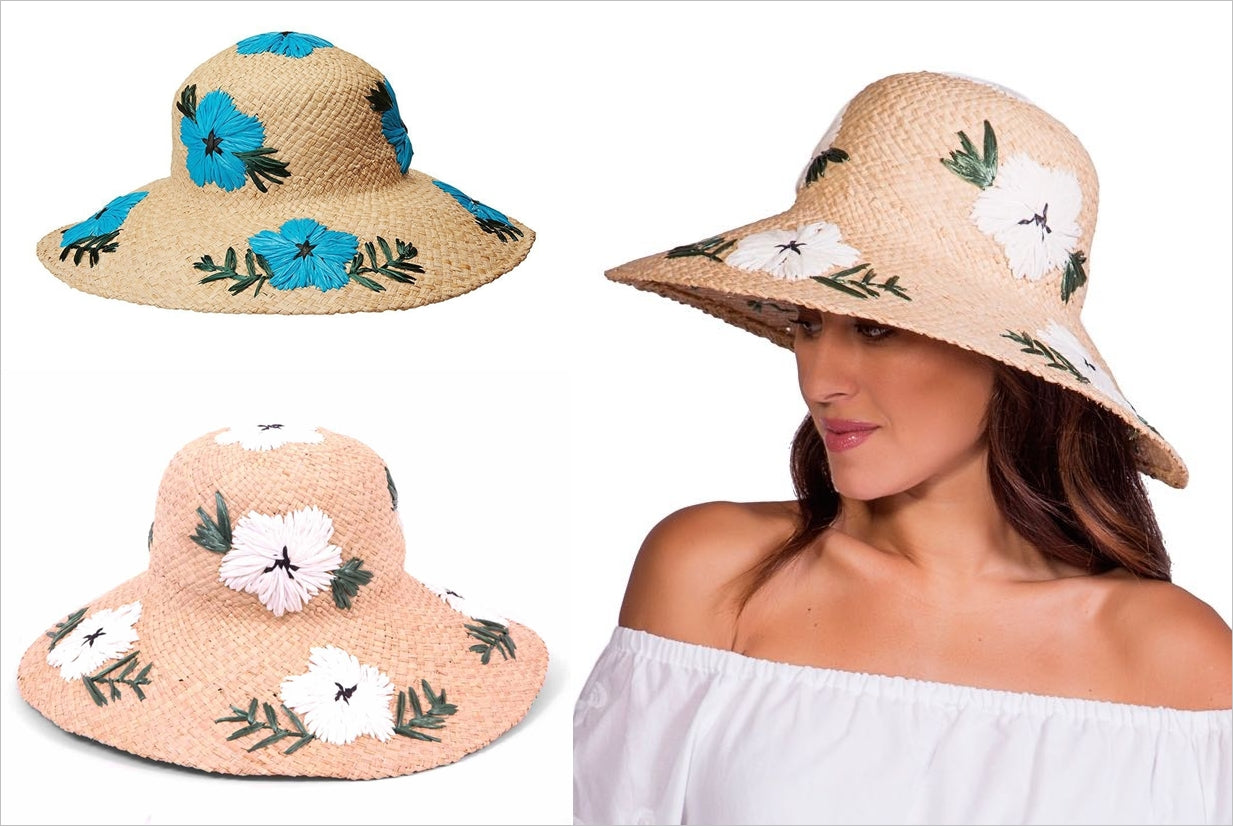 A straw hat design with embroidered flowers