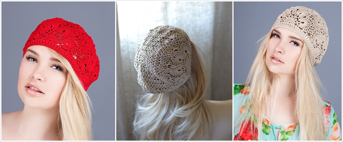 crochet caps in red and beige color