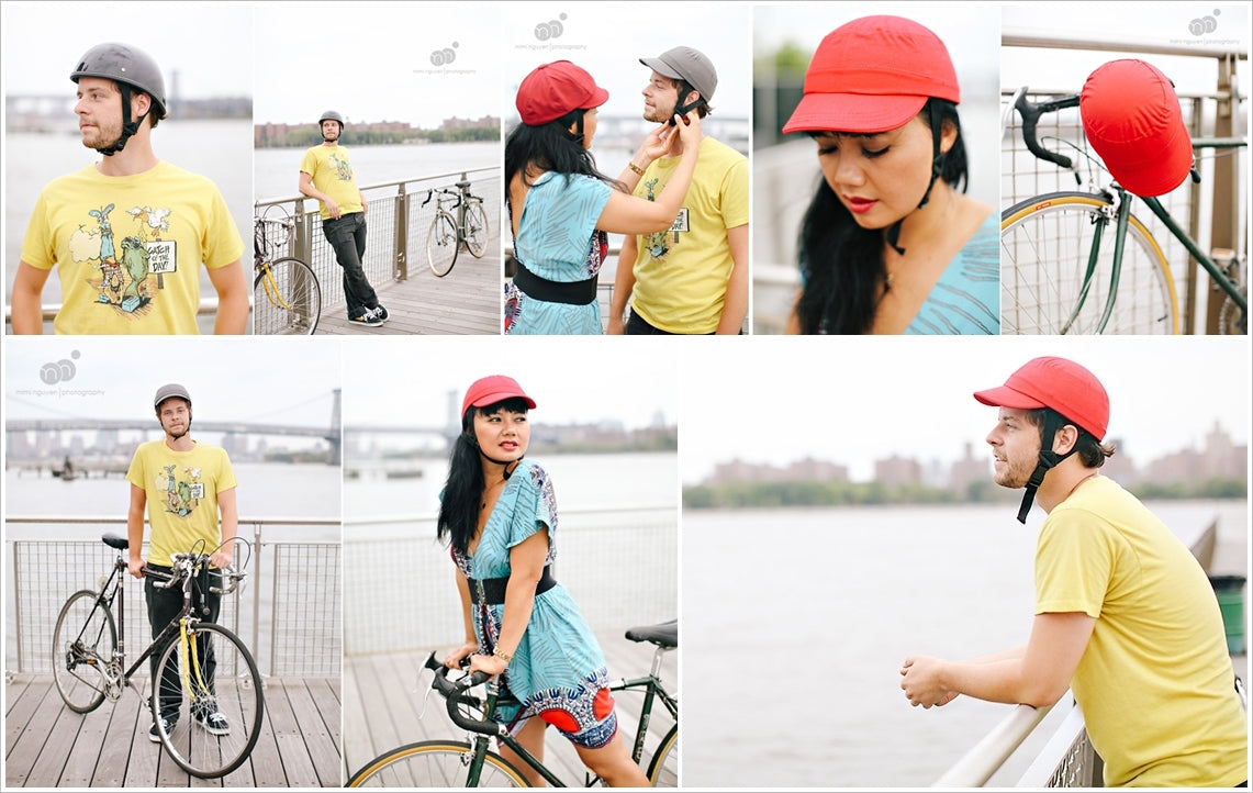 P-cap helmets in red and beige color