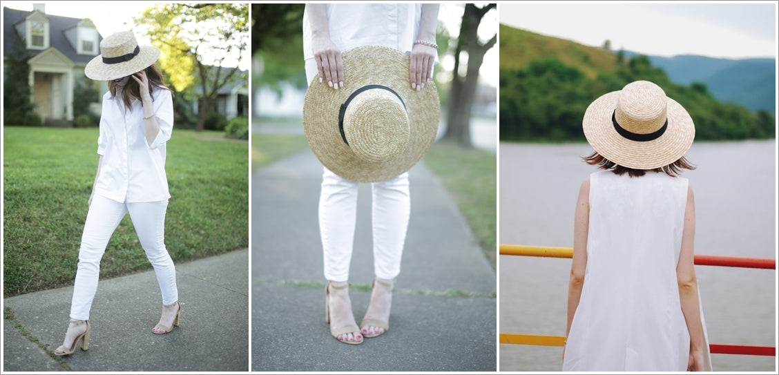 straw hats with white colored outfits