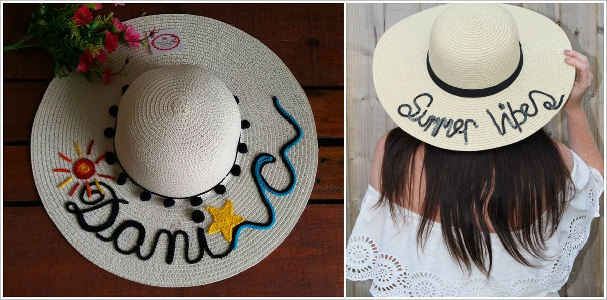 Straw hats with embroidered messages